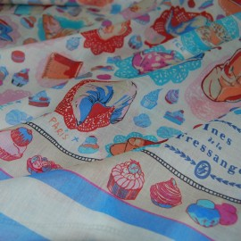 COTTON SILK MIX SCARF PANEL Ines de la Fressange Paris 60 X 60 CM