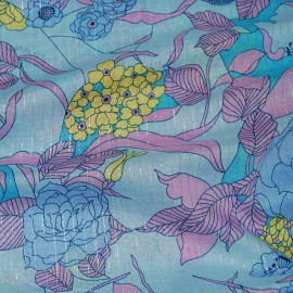 PRINTED COTTON MIX VOILE WITH LUREX THREAD