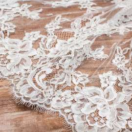 DOUBLE SCALLOPED CORDED LACE LIGHT  IVORY