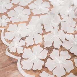 LASER CUT CHIFFON FLOWERS EMBROIDERED TULLE. DOUBLE BORDER. LIGHT IVORY