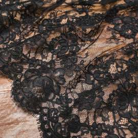 DOUBLE SCALLOPED CORDED LACE BLACK