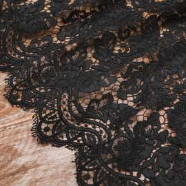BLACK EMBROIDERED AND CORDED TULLE