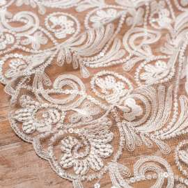 LIGHT IVORY EMBROIDERED TULLE WITH SEQUINS
