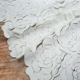LASER CUT SATIN AND CHIFFON EMBROIDERED TULLE IVORY