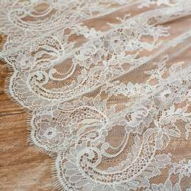 DOUBLE SCALLOPED COTTON MIX LACE IVORY
