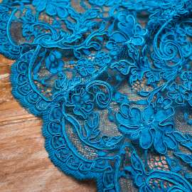 DOUBLE SCALLOPED HEAVY CORDED LACE PEACOCK BLUE