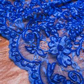DOUBLE SCALLOPED HEAVY CORDED LACE ROYAL BLUE