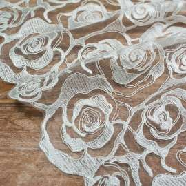 EMBROIDERED AND CORDED TULLE. DOUBLE BORDER. LIGHT IVORY
