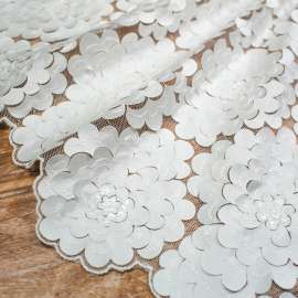 LASER CUT SATIN EMBROIDERED TULLE WITH SEQUINS. LIGHT IVORY