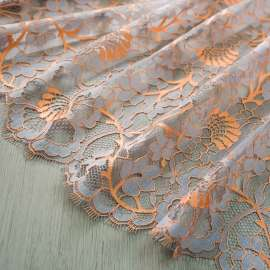 DOUBLE SCALLOPED LACE ORANGE/GREY