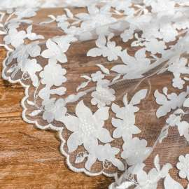 DOUBLE BORDERED LASER CUT SATIN EMBROIDERY TULLE IVORY