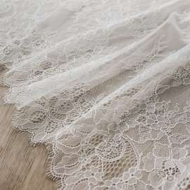 DOUBLE SCALLOPED DELICATE TRIM LACE LIGHT IVORY