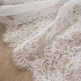 DOUBLE SCALLOPED CORDED TRIM LACE LIGHT IVORY