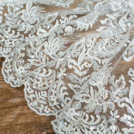 DOUBLE SCALLOPED SEQUINS EMBROIDERED TULLE LIGHT IVORY