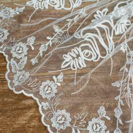 RIBBON EMBROIDERED TULLE LIGHT IVORY