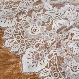DOUBLE SCALLOPED COTTON MIX LACE LIGHT IVORY