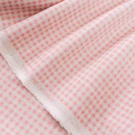 VICHY PRINTED COTTON LINEN MIX FABRIC HAPPY SWEET COLLECTION