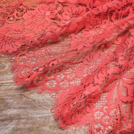 COTTON MIX LACE TRIM DARK CORAL