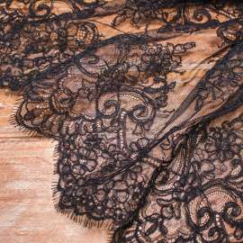 CORDED LACE TRIM BLACK