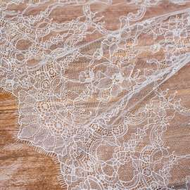 DOUBLE SCALLOPED DELICATE LACE IVORY