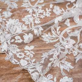 SEQUINS EMBROIDERED TULLE LIGHT IVORY