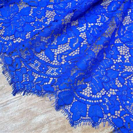 DOUBLE SCALLOPED CORDED COTTON MIX LACE ROYAL BLUE