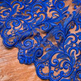 EMBROIDERED TULLE ROYAL BLUE