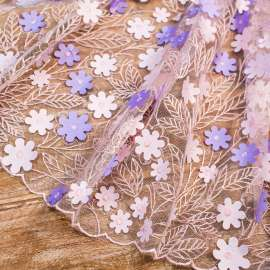 EMBROIDERED TULLE  WITH LASER CUT FLOWERS