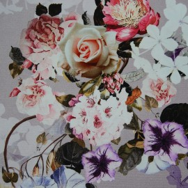 FLORAL PRINTED COTTON STRETCH FABRIC
